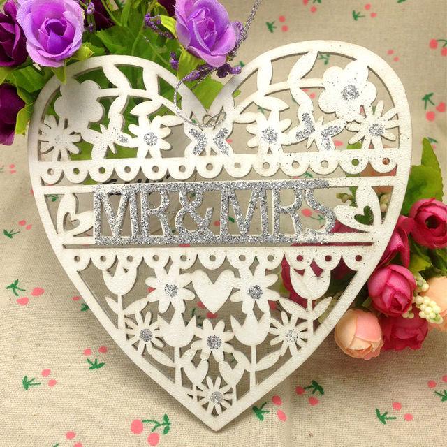 Wedding decoration white wood heart wedding sign mr mrs 15cm wedding decoration white wood heart wedding sign mr mrs 15cm wedding party decoration supplies laser junglespirit Choice Image
