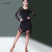 CACARE Latin Salsa Dance Dress for Women Latin Dress Fringe Latin Dance Competition Dresses Tango Flapper D0317 Lace Sleeve