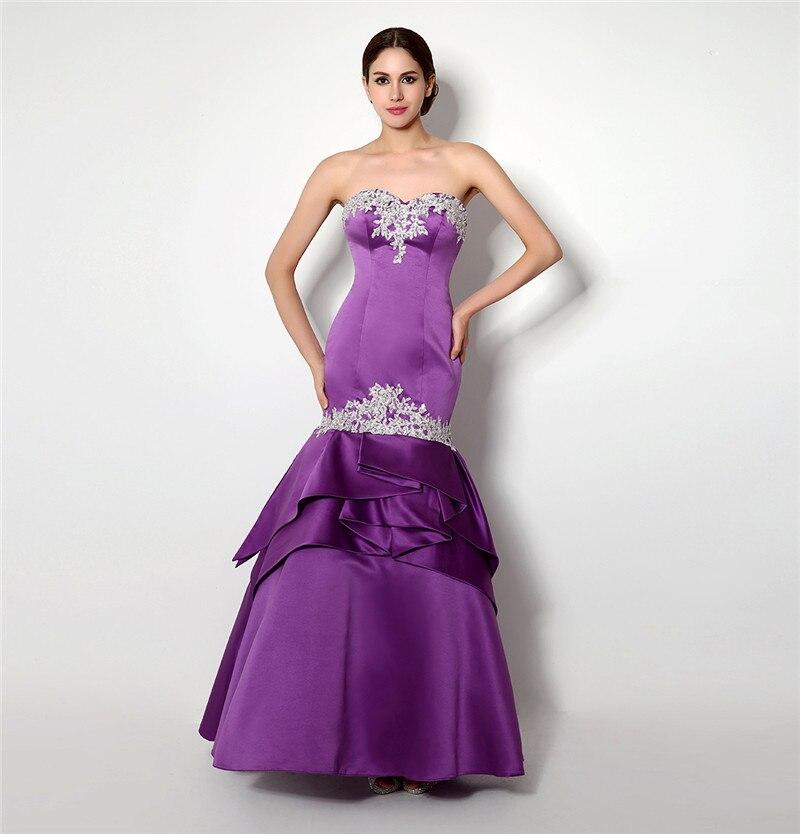 Sexy Purple Prom Dress Mermaid Sweetheart Applique Backless Long