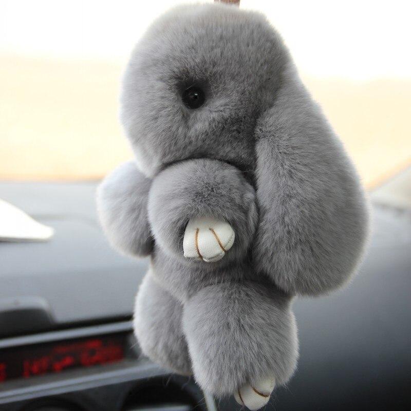 100% réel reax lapin fourrure pendentif voiture accessoires sac porte-clés