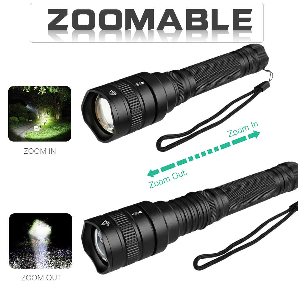 Linterna LED XHP70 600lm linterna súper potente XHP70 XHP50 linterna de Zoom impermeable para acampar al aire libre con batería 18650