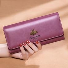Portefeuille en cuir de vache Vintage pour femmes, portefeuille de marque de luxe, portefeuille de téléphone, portefeuille porte cartes