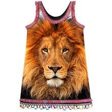 29658e40b Bebé de encaje de la moda vestido de niños ropa de verano estilo las niñas  vestidos de marca grande hermoso León impresión niños.