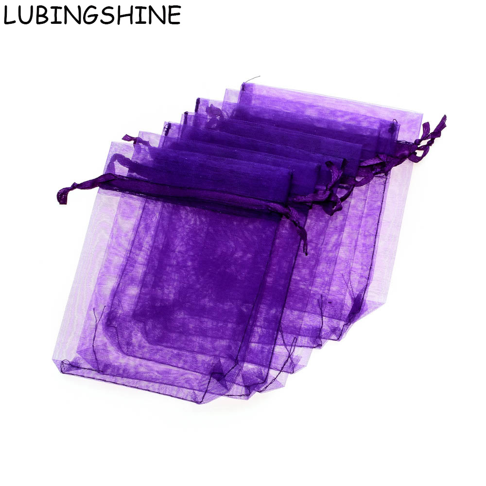 LUBINGSHINE 50PCS Wholesale Jewelry Packaging Display Pouches 10x15 11x16 13x18 15x20cm Christmas Gift Bracelet Organza Bags