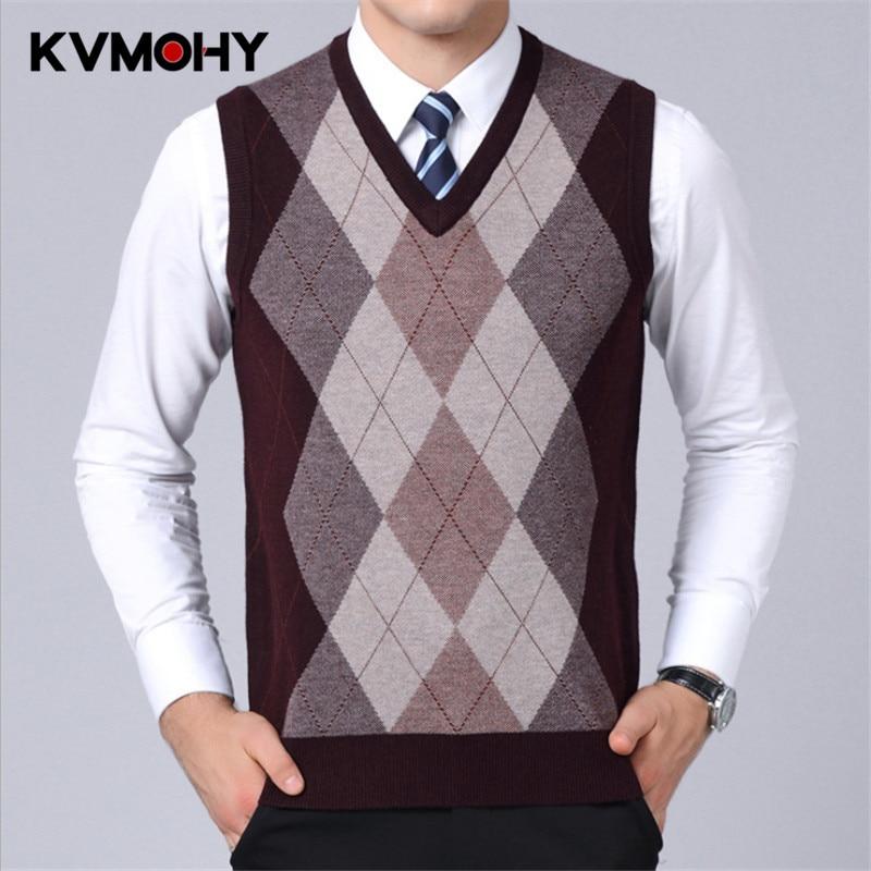 Male Sweater Vest Autumn & Winter Coat  Men's Casual Slim Fit Knitted Sleeveless Pullover Gentleman Fashion Woolen Sweaters Vest