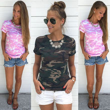 Summer 2017 New arrival Fashion Army green pink colour Women Summer Short Sleeve Shirt Top Casual T-Shirt