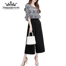 518bb76a18aa tnlnzhyn 2019 Fashion Summer Women Suit 2 pieces Sets Chiffon Tops and Pants  Suits Casual ladies Wide leg Pants Sets Y354