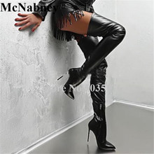 2019 European Women Sexy Solid Pointed Toe High Stiletto Heels Over Knee Boots Zip Slim Black Long High Heel Boots Women Shoes цены онлайн