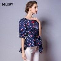 New Casual Tops Blusa Kimono Senhoras Polka Dot Impressão Cintos de Padrões de Olho Meia Manga Top Camisa Mulher Blusas Assimétricas Femme
