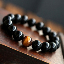 Men's Women's Vintage Style Jewelry Agate Tiger Eye Beads Bangle Bracelet