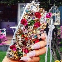 Luxo cristal cor gem strass caso para huawei honor 9x pro 8x max 7x 20 pro i s 10 9 8lite v20 30 note8 capa de telefone