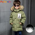 Winter Boys Down Jackets Parkas Coats Coats for Boys Clothing 4 6 8 10 Years Letter Pattern Children Outerwear Thicken Warm Down