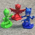 3 pcs 9.5 cm Máscaras PJ Set Brinquedo Mini Figura da Boneca De Plástico De Vinil para Meninos Meninas brinquedo Catboy Owlet Gekko Presente Cape Pj Máscaras partido