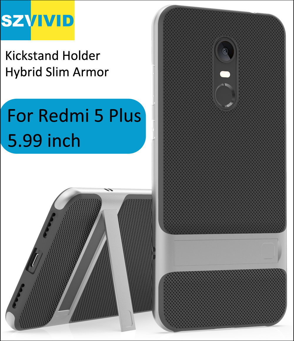 Hybrid Slim Armor Case For Xiaomi Redmi 5 Plus 5.99 inch Holder Kickstand Protector Clear Transparent Cover