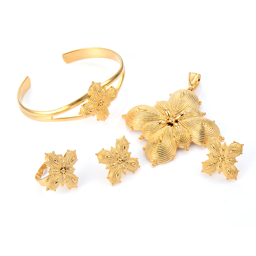 Vintage Ethiopia Africa Statement Gold Filled Ethiopian Cross Jewelry Set Wedding Bridal Bracelet Ring Pendant Earrings In Sets From