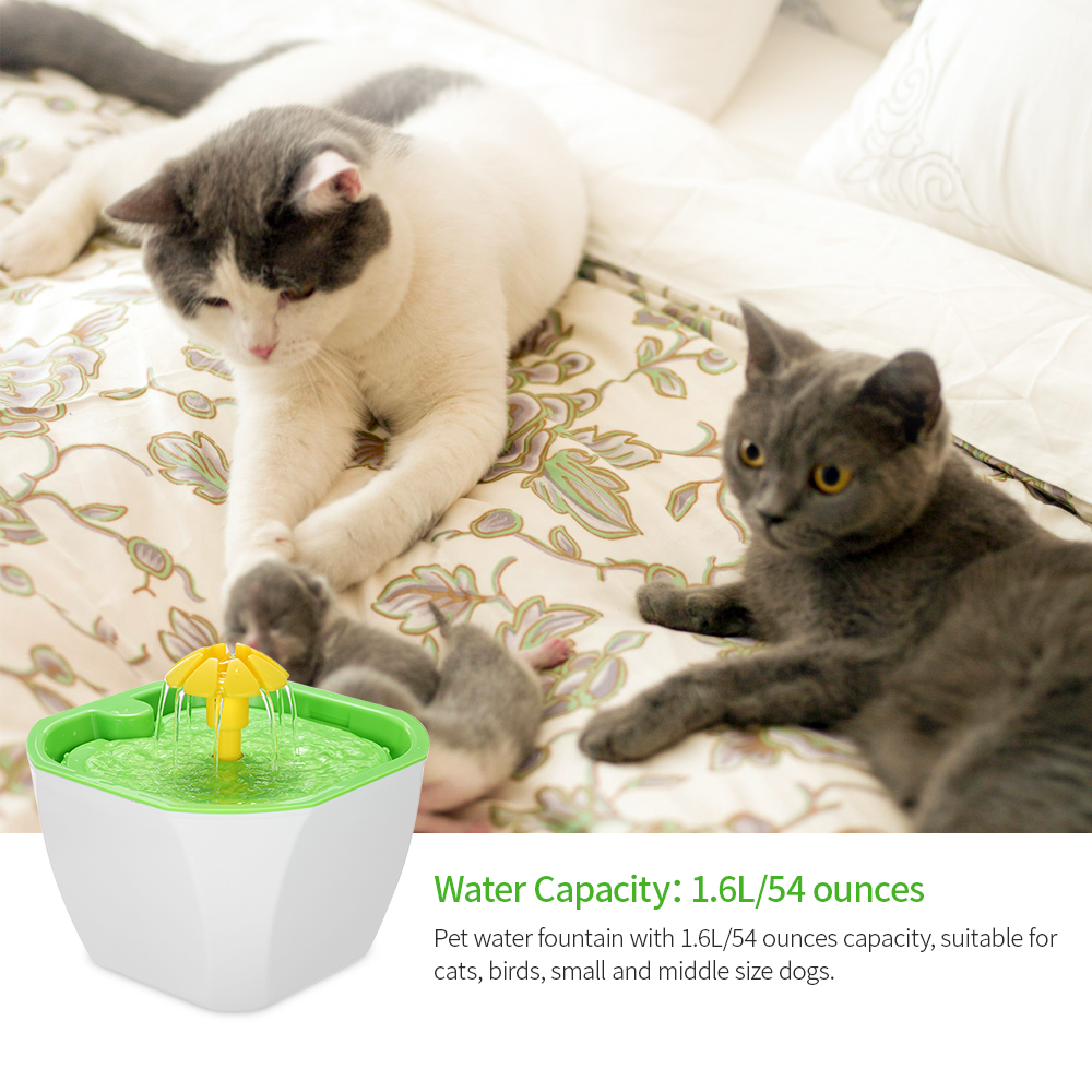 Pet Water Fountain 1 6L Automatic Cat Flower Water Dispenser with Filter  Pump for Pet Drinker Bowl Cat Dog Bird Small Animals