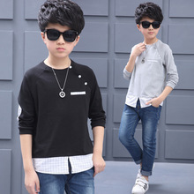 Big O-neck Tees for Boy Cotton T-shirt Teenager Spring Tops Autumn Kid Casual Clothing Infant Patchwork T Children 5-15 Fall Tee