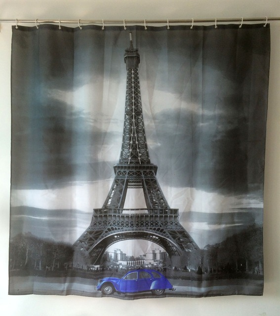 Paris Scenery Curtains Eiffel Tower Shower Curtain Car Bathroom Waterproof Fabric Cortinas De Bano Free