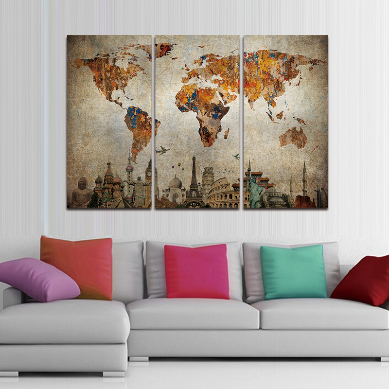 3 panel vintage world map canvas painting oil painting print on 3 panel vintage world map canvas painting oil painting print on canvas home decor wall art wall picture for living room unframed in painting calligraphy gumiabroncs Choice Image