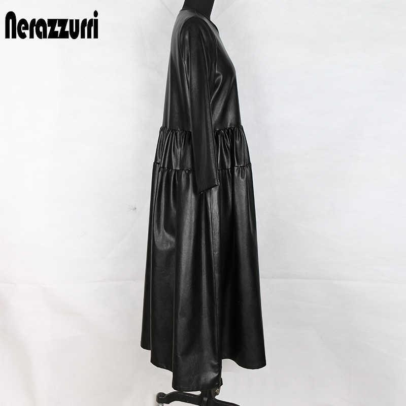 Nerazzurri สีดำ pu หนังผู้หญิงแขนยาว maxi ชุดฤดูใบไม้ร่วงยาวสุภาพสตรีพลัสขนาดเสื้อผ้าผู้หญิง 4xl 5xl 6xl