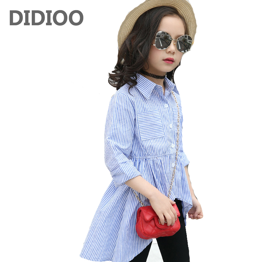 Kids Shirts Dresses for Girls Stripe Dresses Autumn Vestido Infant Girls Blouses 4 6 8 10 12 Years Children Swallow Tail Dresses