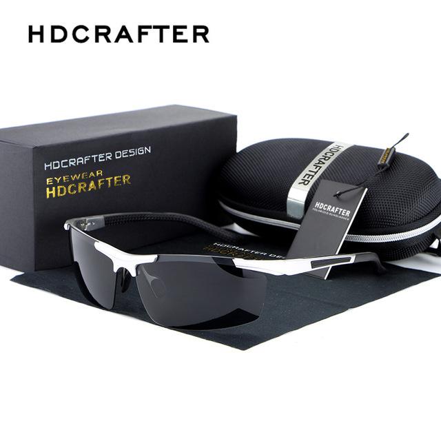 Hdcrafter promoções new moda esporte óculos de sol 100% homens polarizados marca condução motorista óculos de sol óculos de sol gafas oculos de sol