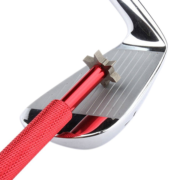 Golf Club Groove Sharpener Tool With 6 Cutters For Optimal Backspin And Ball Control With Wedges And Utility Clubs (Red)