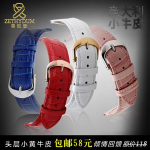 Image 5 - Genuine leather watch strap womens fashion bracelet  watchband wristwatches band multicolor 12 14 16 18 20mm pink blue red color