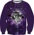 Size XS-6XL New Fashion Galaxy Sweatshirt Print Animal Cat Panda Forest Pizza Hoodies Women Men Long Sleeve Casual Pullover Tops