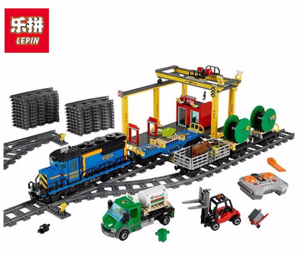 Lepin 02008 The Cargo Train Set Genuine 959Pcs City Series 60052 Building Blocks Bricks Educational Toys Children Christmas Gift lepin 02008 the cargo train 959pcs city series legoingly 60052 plate sets building nano blocks bricks toys for boy gift
