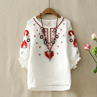 Ethnic Vintage White Floral Embroidered Blouses For Women Loose Half Lantern Sleeve Shirt Women Cotton Linen