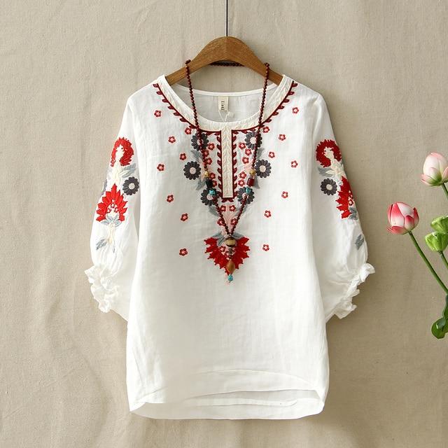 8bc078d71 Blusa bordada Floral blanca Vintage étnica para mujer suelta media linterna  manga camisa mujer algodón Lino
