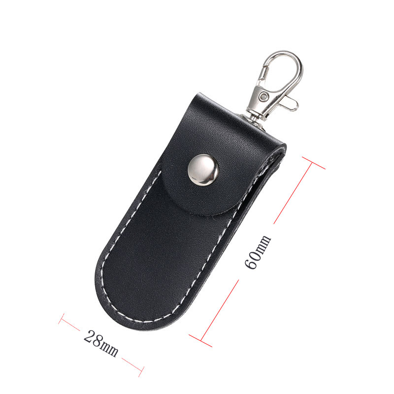 Image 3 - Universal USB Flash Leather Storage Protecter Black Portable Protective Cover With Key Ring rhodium lobster Clasp Clip Locker-in Memory Card Adapters from Computer & Office
