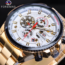 Forsining Automatic Watches Golden Racing Car 3 Sub Dial Mens Calendar Mechanical Watch Relogio Masculino Steel Strap Male Clock стоимость