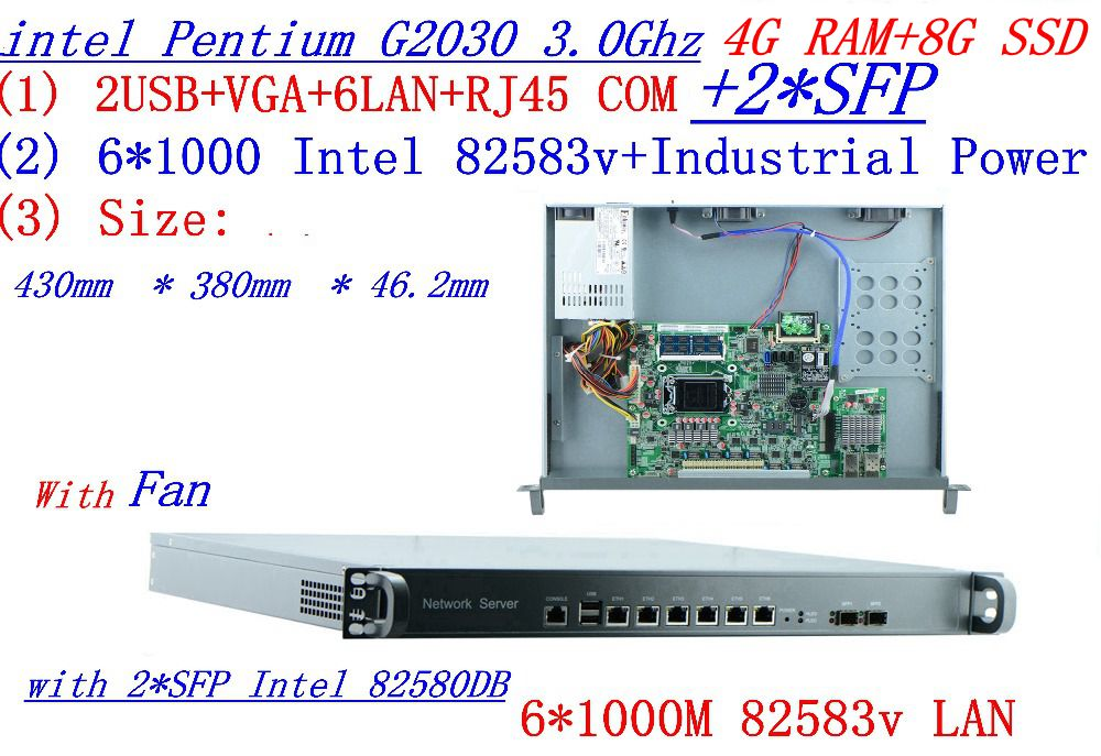 4G RAM 8G SSD  InteL G2030 3.0GHZ 1U Firewall Server With 6*intel 1000M 825853v Gigabit LAN With 2*SFP Support ROS RouterOS Etc