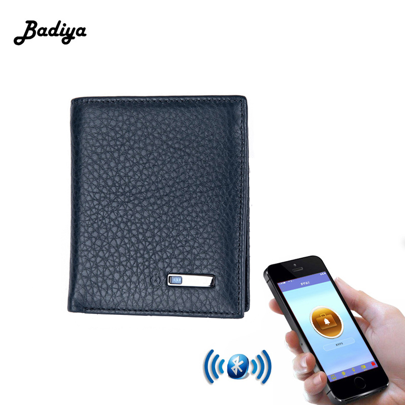 Smart Wallet Men Genuine Leather Anti Lost Intelligent Bluetooth Purse Male Card Holders Carteira Suit For IOS, Android
