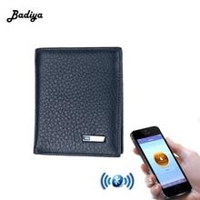 Smart Wallet Men Натуральна шкіра Антизапальна інтелектуальна гаманець Bluetooth Корзина чоловіча карта Корзина Carteira для IOS, Android
