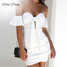 WildPinky New Strapless Summer Dress Women 2019 Sexy Off Shoulder Slim Elastic White Tie Up Mini Bodycon Party Vestidos