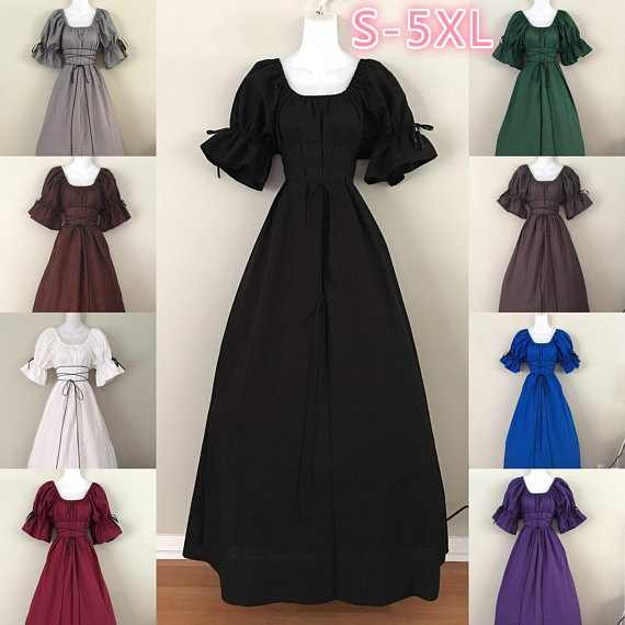 Vintage Style Women Medieval Dress Gothic Dress Floor Length Women Cosplay Dress Retro Long Gown Dress 3 Colors Available