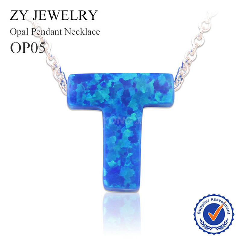 Hot Sale Silver Plated Chain Opal Pendant Necklace OP05 Blue Synthetic  Letter T Opal Necklace For