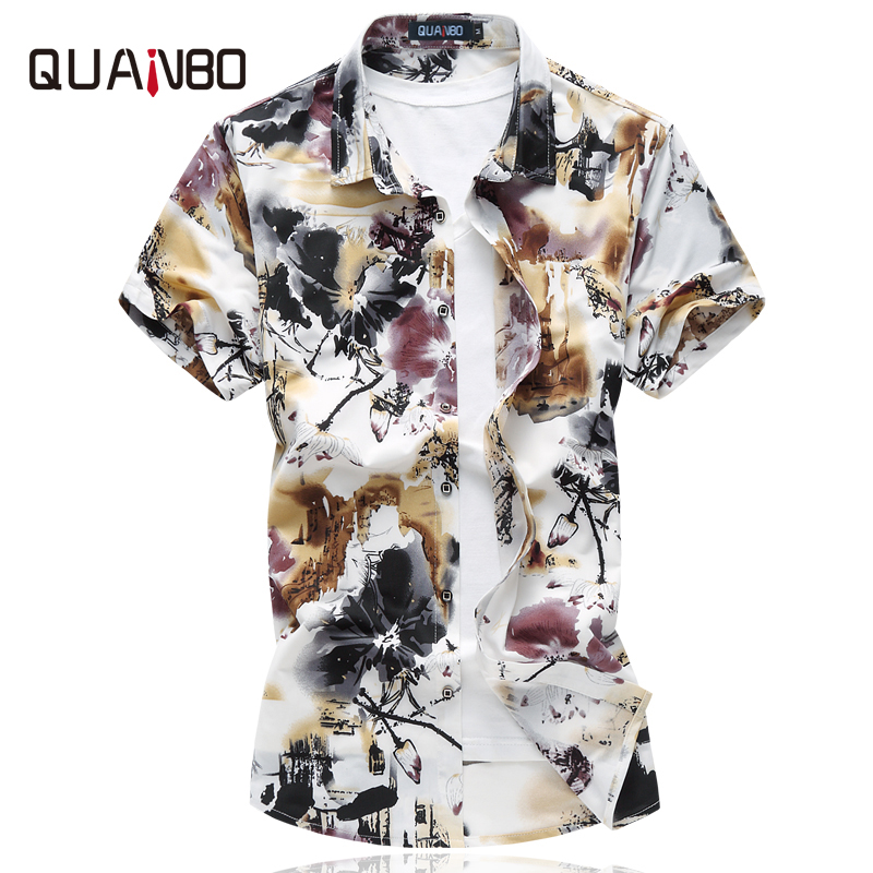 QUANBO <font><b>Men's</b></font> Shirts <font><b>Plus</b></font> <font><b>size</b></font> <font><b>6XL</b></font> 2019 New Arrival Summer <font><b>Men</b></font> Casual Stretch Printing Floral Short sleeve shirt Brand <font><b>Clothing</b></font> image