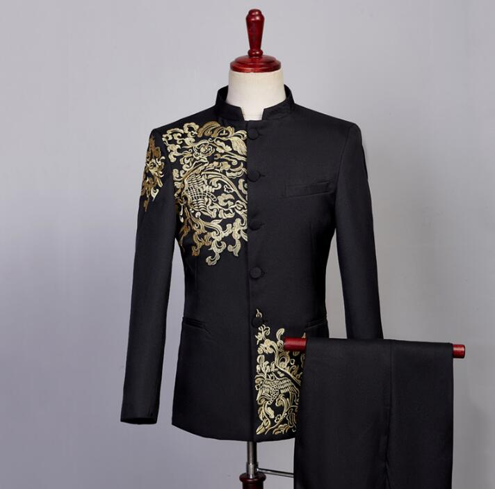 Blazer Men Formal Dress Embroidery Chinese Tunic Suit Chorus Men Costume Homme Terno Masculino Trouser Wedding Suits For Men's