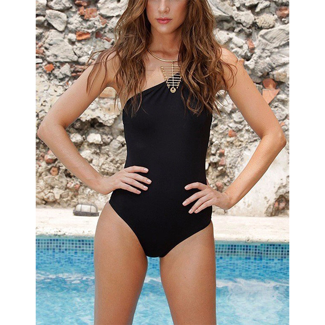 2017 New Sexy One Piece Swimsuit One Shoulder Swimwear Women Bandage Vintage Beachwear Bathing Suits Black Monokini Swimsuit XL