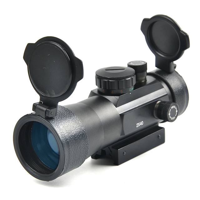 BU 2×40 Green Red Dot Sight Scope Tactical Optics Riflescope Fit Picatinny Rail Mount 20mm 11mm Rifle Scopes for Hunting