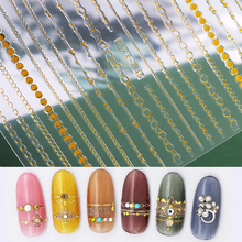 1pc gold 3D nail sticker curve stripe lines stickers adhesive band Nail Art silver