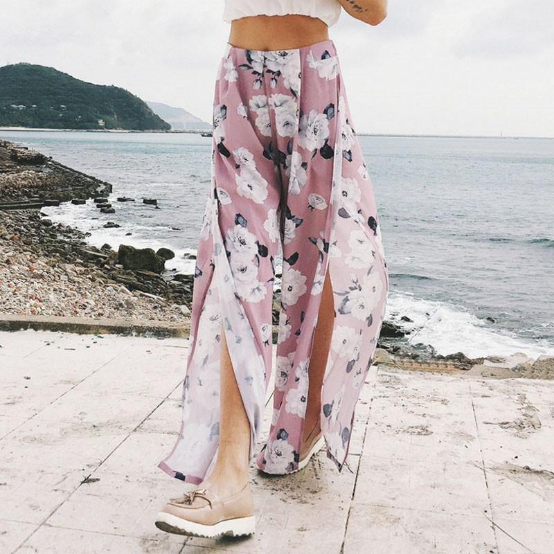 2019 New Women Floral Print   Wide     Leg     Pants   Summer Boho Beach Elastic High Waist Chiffon Trousers