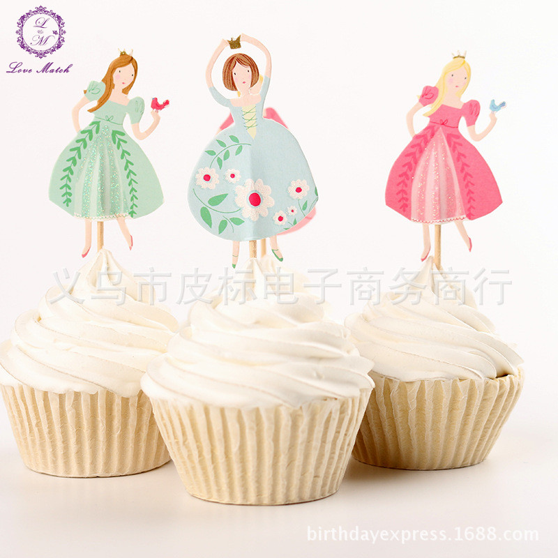 Cake Decorating Store Underwood : NEW 24pcs Party supplies Princess cupcake toppers picks ...