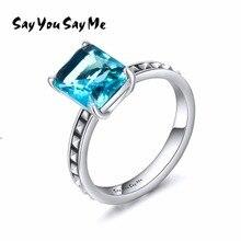 Dicen que usted dice me 925 anillos de plata esterlina al por mayor boda y fiesta de compromiso piedra azul anillos Mejores Regalos 2018 nuevo llegada