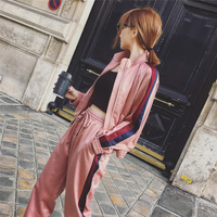 2017 New Arrival Women 2 Two Piece Sets Autumn Tracksuits Casual Striped Jacket Drawstring Pants Pink