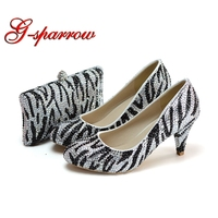 2018 Новый Дизайн Зебра Цвет черный с серебряными стразами Свадебная вечеринка обувь 6 см средний каблук круглый носок туфли для выпускного в